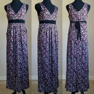 Black&Purple Abstract Print Empire Waist MaxiDress